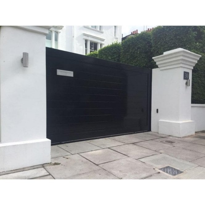 Arden Gates Gloss Black Temple Aluminium Sliding Gate