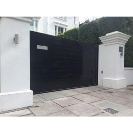 Gloss Black Temple Aluminium Sliding Gate