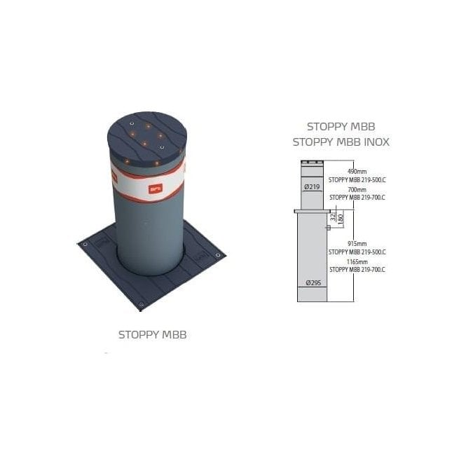 BFT BFT STOPPY 700 MBB 700MM x 220MM BOLLARD c/e  LED light crown & Perseo control panel