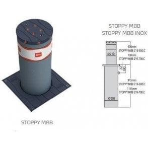 BFT STOPPY 700 MBB 700MM x 220MM BOLLARD c/e  LED light crown & Perseo control panel