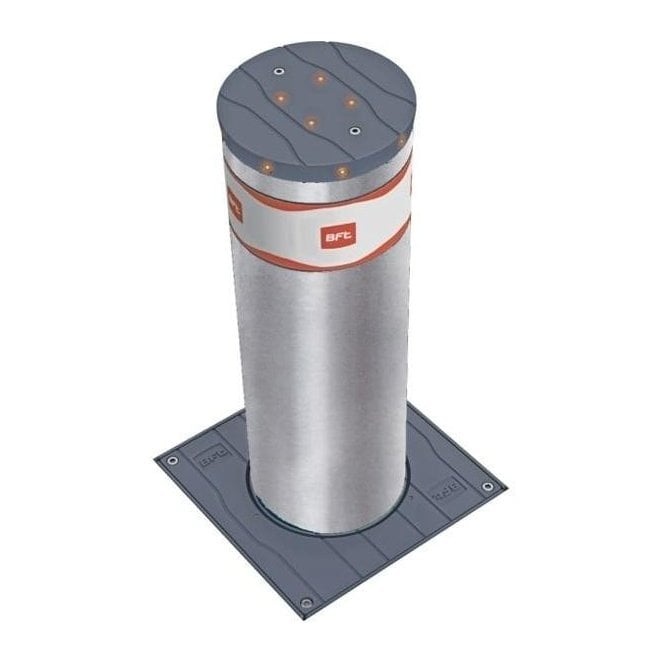 BFT STOPPY B 700 x 200 S/STEEL Electromechanical Automatic Bollard in Stainless-steel c/w LED light crown