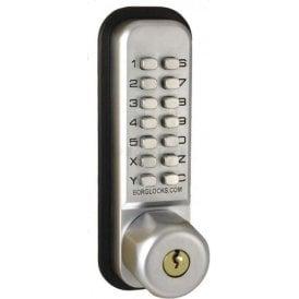 BL2710 Knurled knob, keypad, key overide, inside paddle handle, optional holdback, 60mm latch
