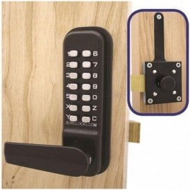 BL4409 External Marine Grade, code operated, free turning lever handle, keypad, slam latch